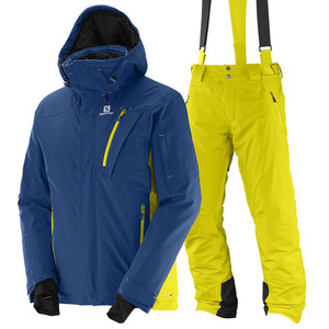 스키복 SALOMON ICEGLORY JKT+PNT (MIDNIGHT BLUE+LIGHT ALPHA YELLOW)